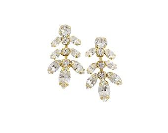 Bridal Earrings Wedding Jewelry, Gold and Opal Crystal Vine & Leaf Rhinestone Drop Bridesmaid Dangle Design, Camilla Christine IRIDESSA