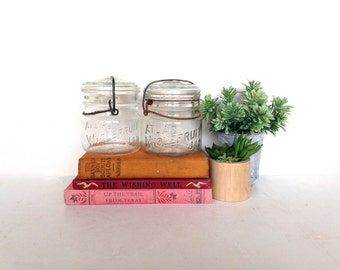 Atlas Wholefruit Jars, Bail Top Canning Jars, Clear Widemouth Atlas Canning Jars with Lids, Set of 2, Whole Fruit Canning Jars, Atlas Jars