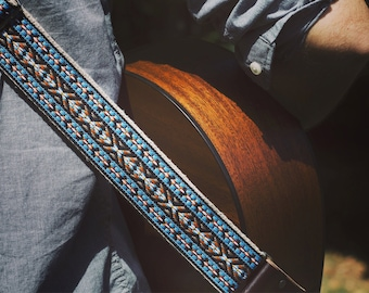 Hemp Guitar Strap - Teal Vintage Style Woven Ribbon on Organic Hemp Webbing - Vintage Style Strap - Acoustic, Electric and Bass Guitars