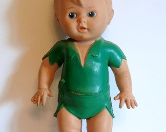 Peter Pan Squeaky Vintage 10 inch Rubber Doll 1950's Sun Rubber Co. Made in USA  Early Disney Collectible Peter Pan Toy