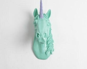 The Bayer in Seafoam w/Lavender Staff w/Iridescent Glitter - Magical Unicorn Head - Unicorn Wall Mount - Unicorn Decorations Kids Room Decor