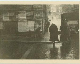 Street Corner, 1957 Vintage Snapshot Photo (66471)