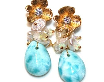 Caribbean Larimar Earrings Larimar Jewelry Volcano Earring Ethiopian Opal Earring Fun Jewelry Beach Earrings Beach Jewelry Resort Trends
