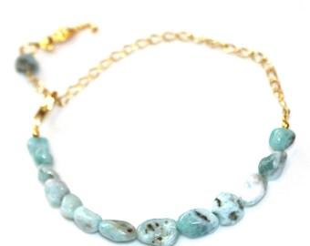 Caribbean Larimar Bracelet Beach Bracelet Stacking Bracelet Gold Charm Bracelet Ocean Style Seahorse Bracelet Beach Jewelry Larimar Jewelry