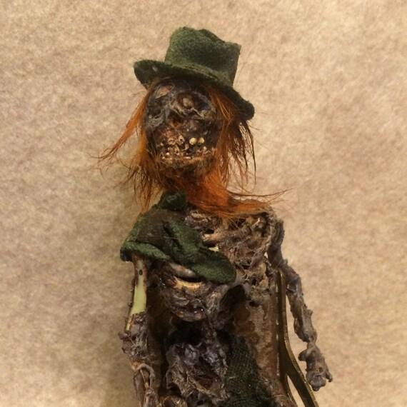 ooak irish dead leprechaun fantasy fairy miniature doll art