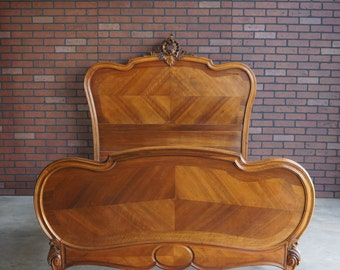 Antique French Rococo Full Bed / French Bed / Antique Double Bed