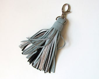 Leather Tassel, Large, light teal and dark silver color
