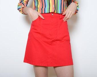 "Vintage 70's Red ""Marcia Brady"" High Waisted Skirt Sz S/M"