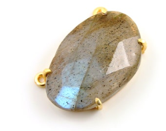 Natural Rose Cut Labradorite Handcrafted & Prong Set in Sterling Silver w/ 24k Gold Vermeil, Statement Necklace, Sold as 1 Piece (BKC/9063)