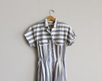 Vintage Striped Safari Dress