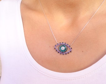 Evil eye necklace in silver, all seeing eye jewelry, 925k silver necklace, wholesale turkish eye jewelry  gold evil eye necklace gift