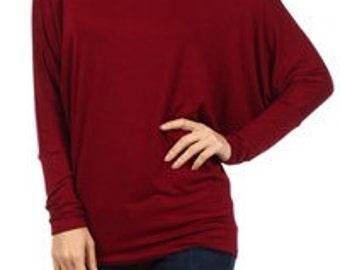 Women's Burgundy Favorite Dolman Tunic Top Long Sleeves-Tops & Blouses, Plus Size