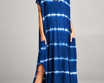 New Blue & White Tie Dyed Stretch Lounge Maxi Casual Long T Shirt Pockets Dress sz S M L