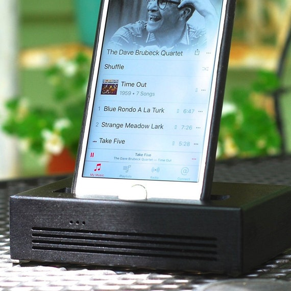 iPhone 6 Plus Docking Station - The CONCERT Acoustic Speaker Dock  in BLACK – Use With or Without a Case - Amplifies the Sound