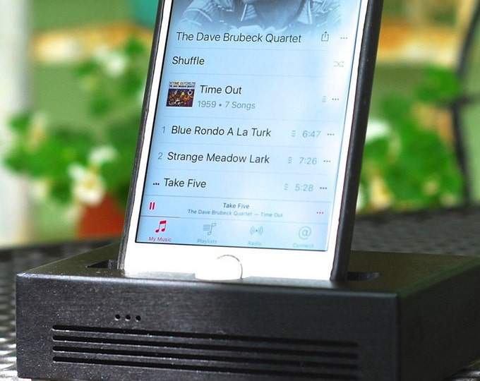 iPhone  Plus Docking Station - The CONCERT Acoustic Speaker Dock  in BLACK – Use With or Without a Case - Boosts the Sound