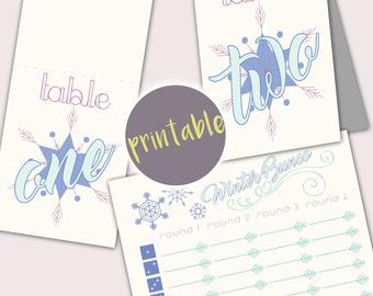 Instant Download Snowflake Winter Bunco Cards, Printable Winter Bunco Cards