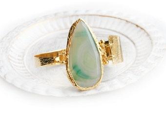 Light Green Agate Gold Plated Cuff Bracelet