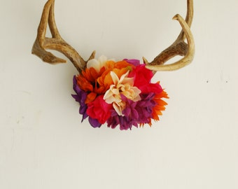 Vintage Deer Antlers with Wildflowers -Orange Rust Purple Pink Ivory White Wall Hanging Taxidermy 8 Point Boho Home Wedding Decor Decoration