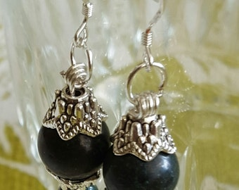 EARRINGS: Have Loads of Fun with these Navy Blue Beaded Silver Bead Capped Sterling Silver Dangle Earrings