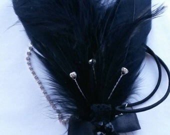 Ladies black roaring 20s headband headpiece headress wedding party shower feathers gatsby