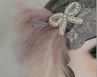 flapper outfit, Great Gatsby party, summer wedding, lace headdress, headband, headpiece, feathers, 20s party, Charleston, flapper