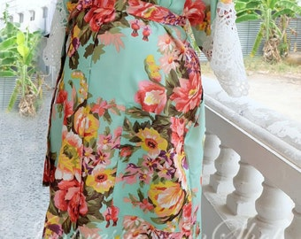 Maternity Hospital Gown Ankle length Maternity Robe Light Green Snaps down back gown delivery To be Mom Kimono Robe Pregnant New Baby
