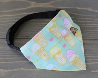 Ice Cream Bandana for Cat or Dog, Reversible Kerchief, Slide on Collar Accessory, Collar NOT included, Cone, Yellow Polka Dots