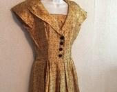 Heavy Gold Satin Vintage Dress ~ Unique Details & Full Skirt by Doris Dodson