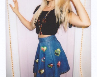 Pixel hearts hand painted puffy paint denim skirt w/ gems