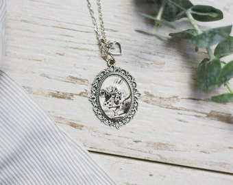 Alice's Adventures in Wonderland by Lewis Carroll White Rabbit Antiqued Bronze or Silver Book Page Literature Necklace