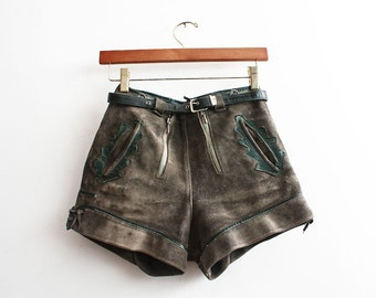 Vintage 1960s Antique Bavarian Shorts Rusty Suede Leather Shorts Aged Clothing