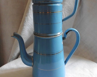 French Vintage, Enamelware Biggin ,Coffee Pot , Blue, Shabby French Cuisine.Blue , Gold, Shabby And Chic, French Home, Loft, French Blue.