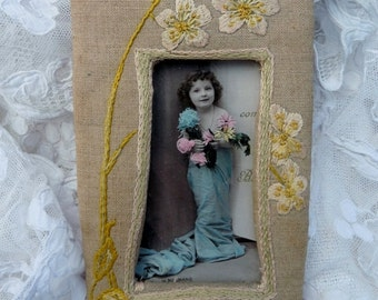 French Vintage , Vintage Photograph Frame , Shabby And Chic , Embroidered Frame, Ribbon Work Style ,