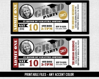 GRADUATION PARTY TICKET Invitations - Class of 2017 - 2018 Grad - Any Color - Admit One (print your own) Personalized Printable w/ Photo