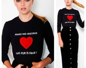 fabulous & witty 80's/90's MOSCHINO 'Fake Fur' stretchy logo 3D puffy faux fur heart top