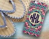 USA seller, Monogram Iphone 6 case Aztec Iphone 5c case Tribal iPhone 5 case Cute iPhone 4 case Girls fashion accessory Hot pink navy (1261