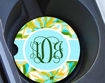 Personalized floral car coaster with initials, Monogram car decor, Turquoise car decoration, Pretty turquoise and yellow flowers (1638)