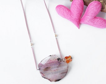 Pink Striped Raw Agate Stone Pendant with Cute Butterfly Charm, Simple Stone Necklace