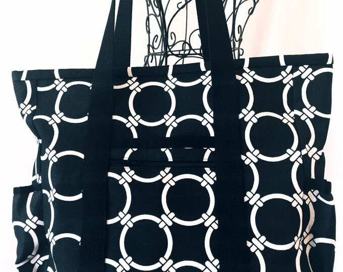 Tote Bag with Pockets, Teacher Tote, Nurse Tote, Carry On, Diaper Bag, Multi-Pocket Tote, Professional Tote, Work Tote