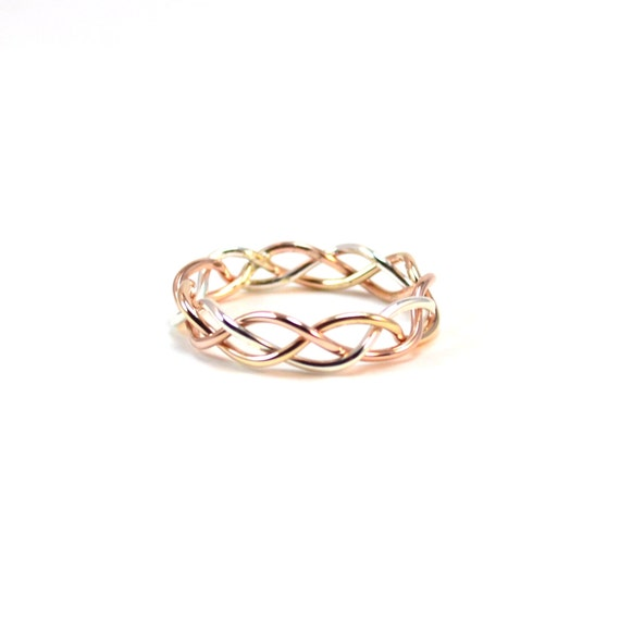 Tri Color Braided Ring. Alternative Wedding Band. Gold, Rose Gold, Silver Braid. Unique Promise Ring
