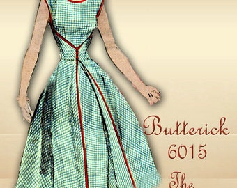 Butterick 6015 1950s Dress Pattern The Famous Walk Away Dress Original First Printing Size 14