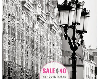 Black and white Paris photography 12x16 print Architectural art Paris print Vertical wall art poster Grey living room wall decor