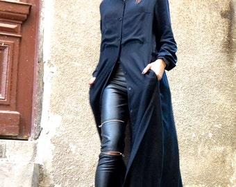NEW  Hot Black Maxi Loose Shirt / Asymmetric shirt / Oversize New Viscose  Maxi Shirt  side pockets by AAKASHA A03333
