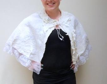 White Wedding Cape/Accessory. Handmade evening wear. Aus. Merino Felt Cape/wrap/shrug/shoulder wrap/Knit/felt Collar. Tulle hem decorations