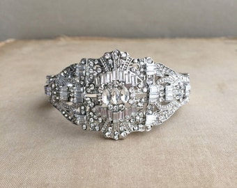 art deco BRACELET,Sale, wedding bracelet. silver bracelet,art deco jewelry,art deco bridal bracelet, bridal bracelet,cuff, GATSBY BRACELET