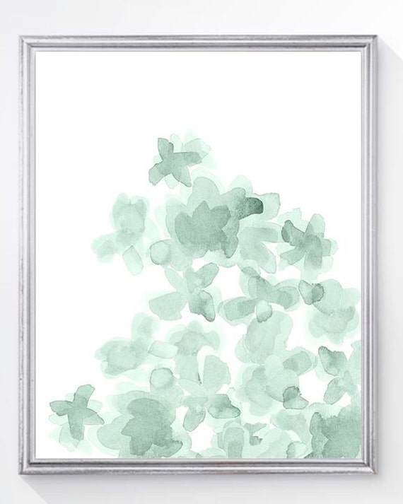Mint Flower Print for Nursery, 8x10