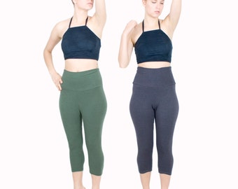 Basic Cotton Lycra Legging Mid Length High Waist Capri Yoga Pants