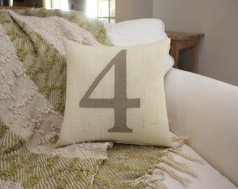 Burlap Pillow / Custom Number Pillow / You select the burlap color and number!