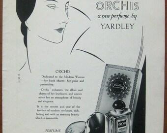 Orchis, Yardley, 1931, vintage, ad, original, perfume, cosmetics, English, woman, advertisement, free shipping, paper, ephemera