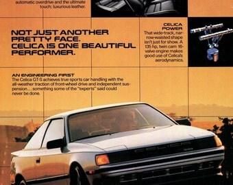 TOYOTA Celica 1986 Print Ad Silver Celica GT-S 1980s Japanese Car Original Vintage Wall Decor